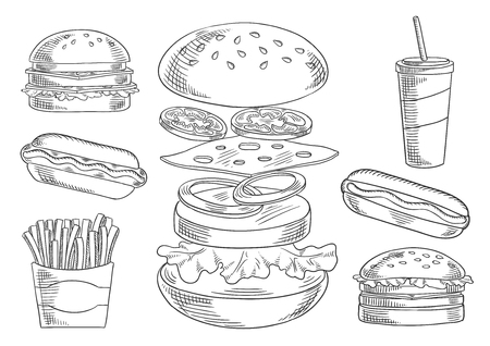 patty: Fast food sketch icons of appetizing cheeseburger with separated layers of fresh tomato and onion, cheese, meat patty and lettuce, surrounded by hot dog and hamburgers, french fries and soda drink. Takeaway food theme