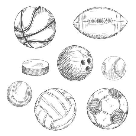 Grabado Dibujos Croquis De Las Bolas De Hielo Deportivos Y Disco De ...