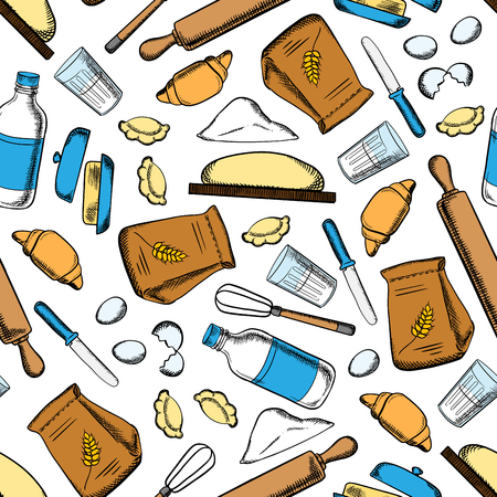 dough: Homemade baking ingredients and utensil seamless pattern with flour and milk, eggs and butter, dough and rolling pins, whisks and knives Illustration