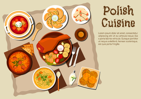 meat soup: Polish national cuisine dishes with pork leg and grilled vegetables, meat and cabbage stew bigos, noodle chicken soup, vegetarian dumplings pierogi, beet soup, potato pancakes, cookies with jam and bottle of dark beer