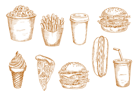 old fashioned menu: Hamburger and hot dog, pepperoni pizza and cheeseburger, french fries, paper cups of coffee and soda, ice cream cone and popcorn bucket sketches. May be use as old fashioned menu or kitchen interior accessories themes design