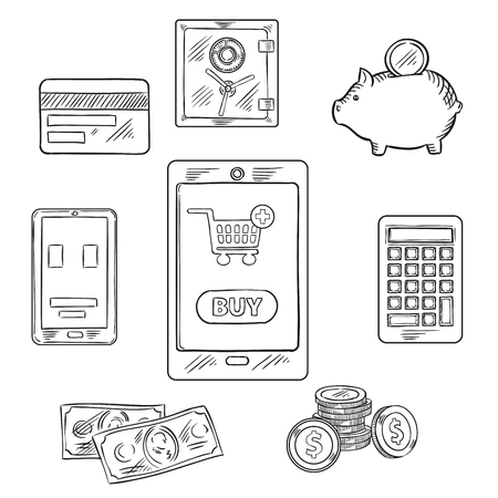 money button: Online shopping and finance sketch concept design with tablet pc with shopping cart and button Buy on the screen, surrounded by dollar bills and coins, smartphone, calculator, piggy bank with money and safe Illustration