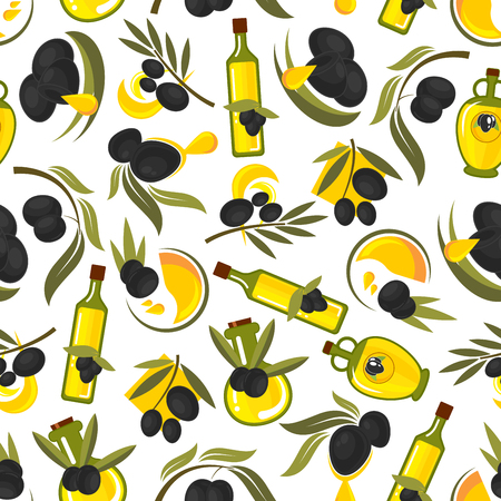 extra virgin olive oil: Seamless healthful olive oil pattern of olive tree leafy twigs with black fruits and oil drops, glass bottles with natural extra virgin olive oil on white background. Healthy food theme design usage Illustration