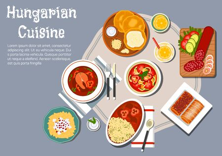 sour: Traditional hungarian cuisine fried bread langos with sour cream and cheese, served with winter salami, egg noodles with cheese and meat stew, spicy fish soup with hot paprika pepper, vegetable salad and stove cakes with lemonade