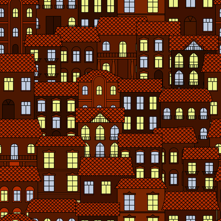 old town house: Night european town seamless pattern of old streets and house buildings with ceramic roofs and shining windows. Travel, real estate background or wallpaper themes design Illustration