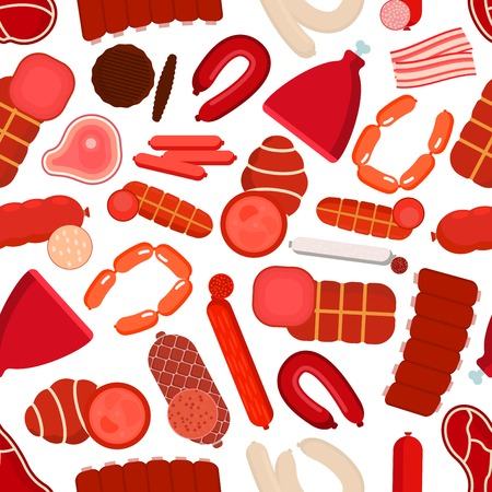 beef: Healthy farm meat and sausages background with seamless pattern of beef steaks and pork ribs, sliced bacon and burger patties, ham and salami, pepperoni, bologna and liver sausages