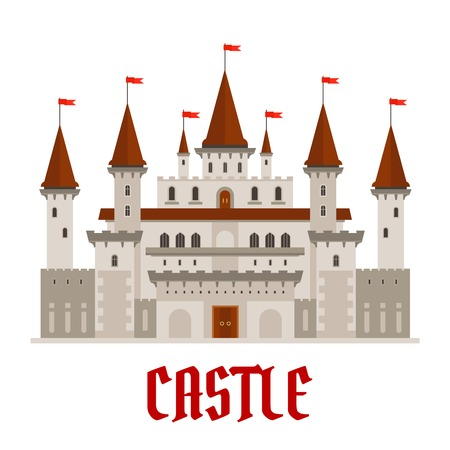 turrets: Romantic medieval castle building with gray stone facade in gothic style and variety of turrets topped with red flags. Architecture, history theme or fairytale themes