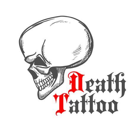 Vintage sketch of human skull in profile for tattoo or t-shirt print design with caption Death Tattoo