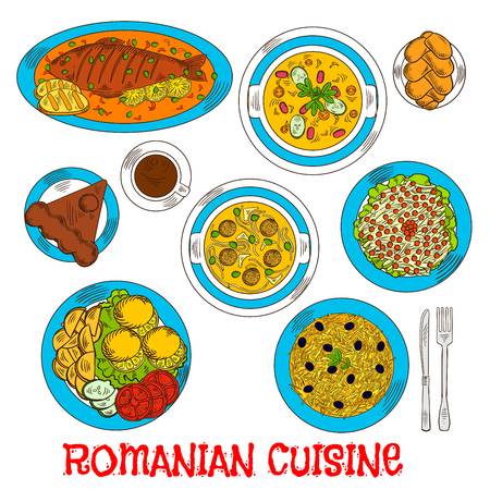 cheese cake: Romanian cuisine elements with whole fish and grilled corn mamaliga, meatball and vegetarian bean soup, fried potatoes with fresh vegetables and lemon, pickled cabbage salad and sweet bread with cheese, chocolate cake amandine and coffee Illustration