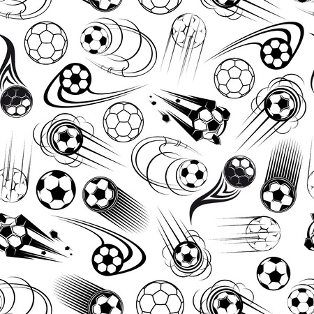 balls decorated: Black and white football or soccer seamless pattern for sports club or competition theme design with flying soccer balls, decorated by cartoon motion trails and flaming elements