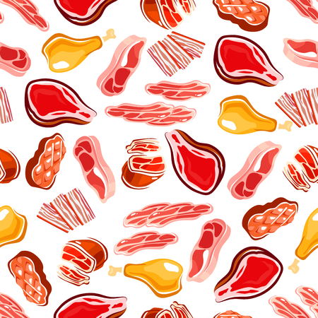 grilling: Fresh meat products seamless pattern for butcher shop, restaurant grill menu or background design with grilled beef steaks and fried chicken legs, bacon and prosciutto, loin chops and sirloin