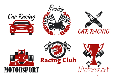 motorsport: Motorsport and racing sport heraldic symbols for racing club or race competition design with racing cars and motorcycle, protective helmet and wheel, trophy cup and checkered flags, crossed pistons and spark plugs Illustration