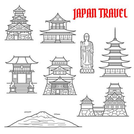 travel japan: Japan travel landmarks thin line icons.