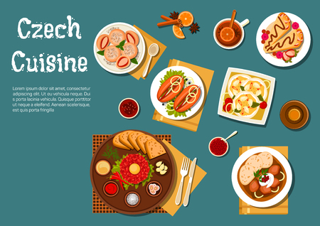 goulash: Traditional czech steak tartare served on plate with raw egg yolk, toasted bread and condiments and sirloin with dumplings, pickled sausages with pickles and spicy fried bread, strawberry dumplings and pancakes filled with fruits, beer bottle