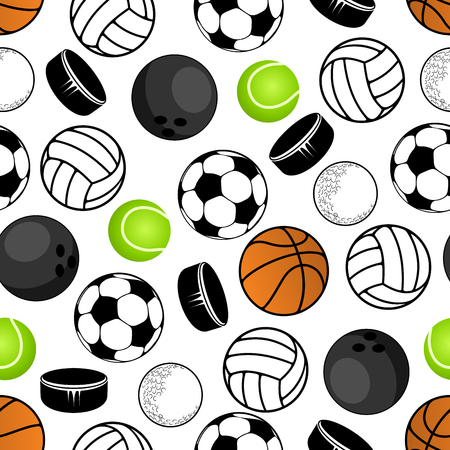sports balls: Sports balls and hockey pucks seamless pattern with colorful background of soccer or football, volleyball and tennis, basketball and golf, bowling and ice hockey pucks. Great for sport club interior, wallpaper or accessories design