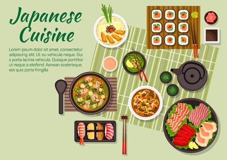gamba: Cena fresca de la cocina japonesa con maki y sushi nigiri, sashimi conjunto con teriyaki de salmón, atún, sepia y vieiras, sopa de miso con carne de cerdo frita, el té verde y sopa con tofu y gambas, ternera con setas y verduras, salsas y condimentos Vectores