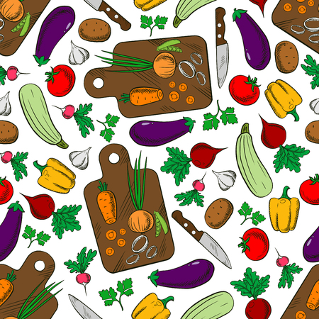 beets: Vegetarian spring salad seamless pattern of wooden cutting boards with knives and fresh carrots, onions and tomatoes, potatoes and bell peppers, eggplants and garlic, zucchini and peas, radishes, beets and parsley. Kitchen interior accessories or vegetari Illustration