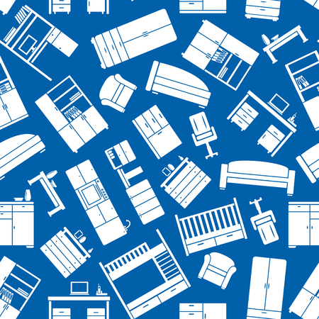 blue white kitchen: Blue seamless pattern with white office and kitchen, children and living room furniture. For interior, accessories or scrapbook page backdrop design