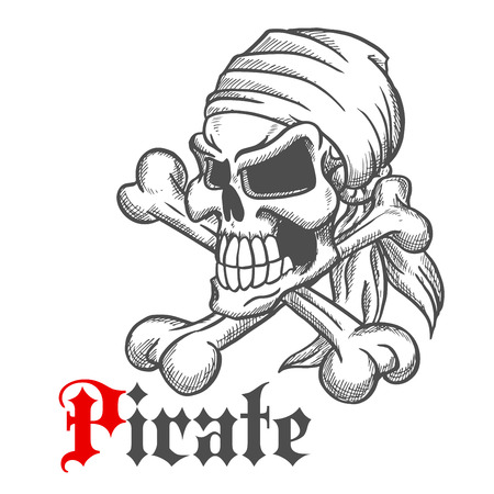 jolly roger: Spooky jolly roger sketch of pirate skull in bandanna with crossbones and gothic caption Pirate