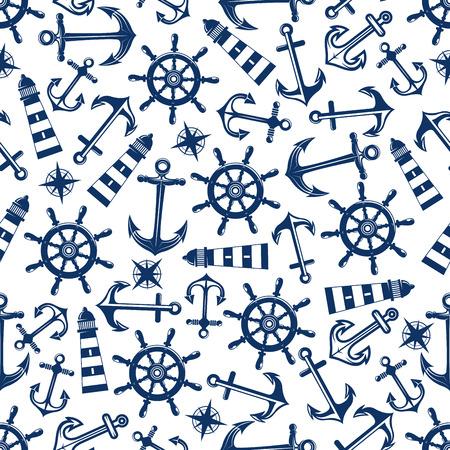 timon barco: Modelo inconsútil de la náutica retro con las anclas de barco azul y timones, faros y rosas de los vientos de la vendimia en el fondo blanco. Puede ser de uso para el tema marino o el diseño de la página del libro de recuerdos