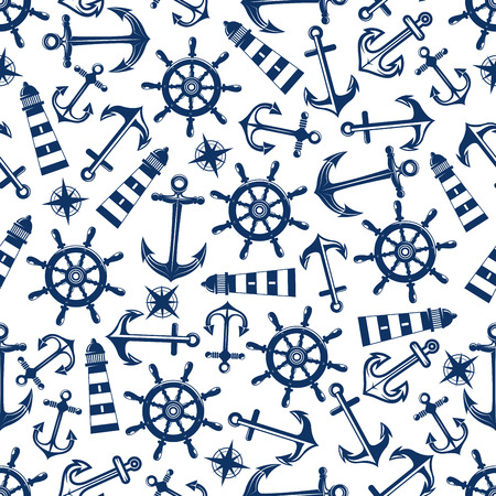 Retro nautical seamless pattern with blue ship anchors and helms, lighthouses and vintage compass roses on white background. May be use for marine theme or scrapbook page design