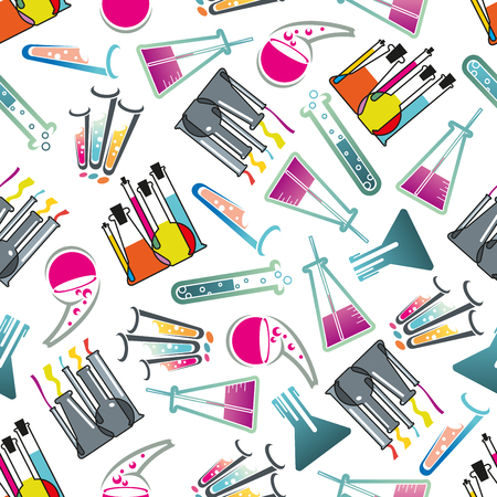 with liquids: Chemical laboratory theme seamless pattern with test tubes, flasks and beakers filled with colorful liquids with bubbles randomly scattered over white background. Education, science, experiment and research theme design