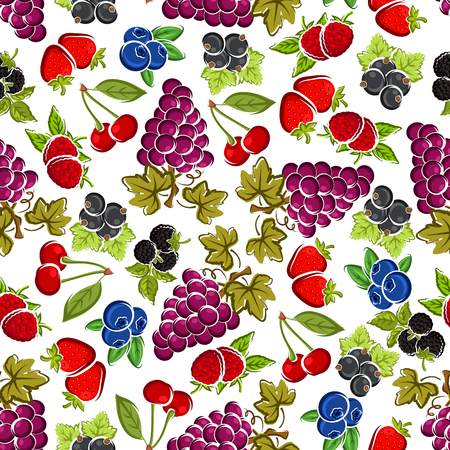 white grape: Strawberry and raspberry, violet grape, blueberry and cherry, black currant and blueberry fruits seamless pattern with carved leaves and stems on white background.