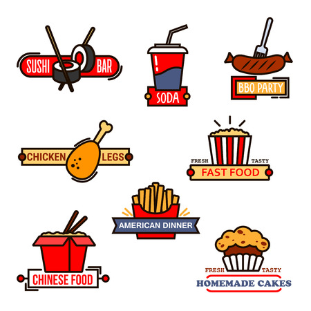 french roll: Fast food cafe and sushi bar, grill menu and bakery symbols with thin line icons of chinese food, french fries and popcorn, soda cup and grilled sausage, sushi roll with chopsticks and chicken leg, decorated by banners