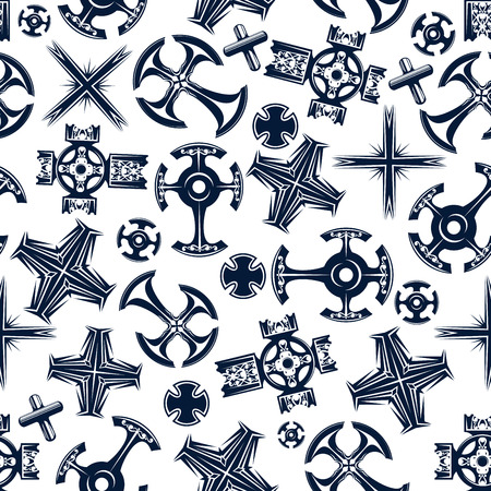 coptic orthodox: Seamless religious crucifix pattern with blue ancient celtic and canterbury, coptic and catholic crosses over white background. Religion, history theme or print design