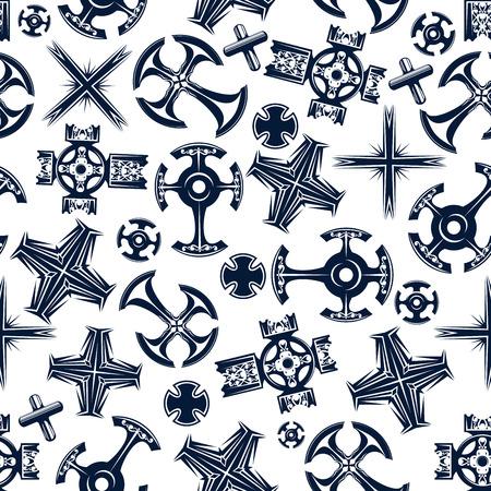 Senza soluzione di continuità religiosa modello crocifisso con l'antica celtica blu e Canterbury, copta e croci cattoliche su sfondo bianco. Religione, tema di storia o di design di stampa Archivio Fotografico - 54668125