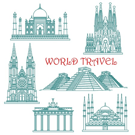 sightseeings: World travel and architecture landmark thin line icons.