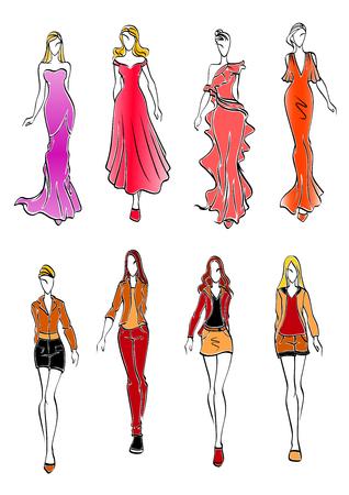 siluetas de mujeres: niñas de la moda y las mujeres en la noche y trajes casual. Siluetas de las mujeres elegantes en rojo y rosa largos vestidos, faldas y camisas, shorts y pantalones. el tema de la moda