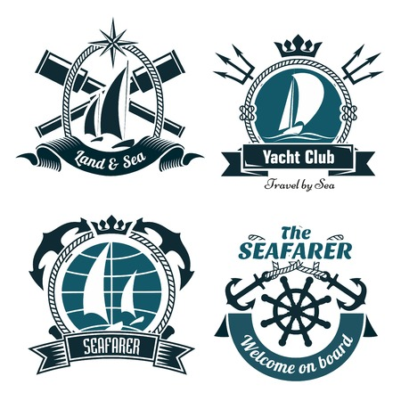 Yacht club or sailing sport retro symbols and icons with sailing boats and vintage helm, framed by crosses anchors, spyglasses and tridents with ribbon banners below and crowns or compass rose on top