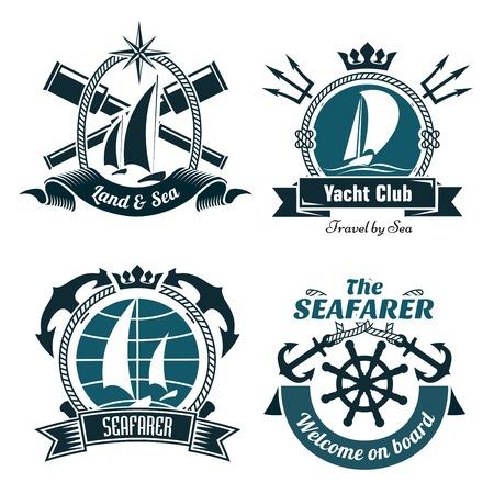 Yacht Club ou de sport de voile rétro symboles et des icônes avec des bateaux à voile et la barre vintage, encadrées par des croix ancres, lorgnettes et tridents avec ruban bannières ci-dessous et les couronnes ou rose des vents au-dessus Vecteurs