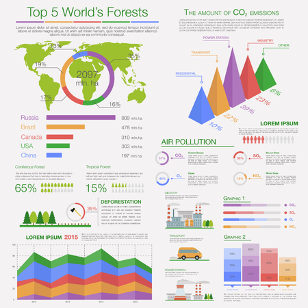 deforestation: Ecology infographics of air pollution and deforestation with different diagrams, charts and maps, supplemented by text layouts and illustrations. Eco presentation and education, nature and healthcare theme design
