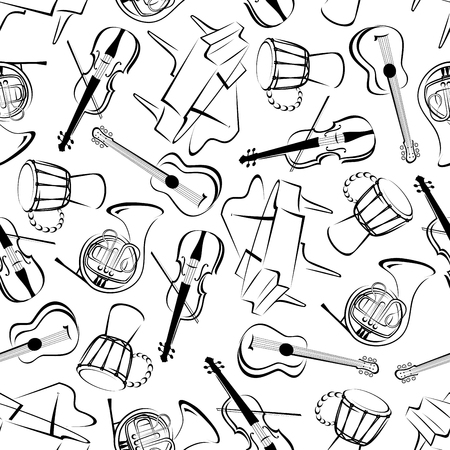 classic art: Classic musical instruments seamless pattern with sketch silhouettes of grand pianos and acoustic guitars, horns and drums over white background. Music and art, concert and entertainment or culture themes Illustration