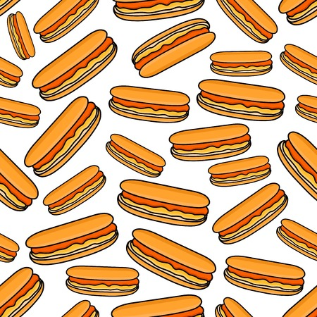 garnish: Hot dogs seamless pattern of fast food sandwiches with sausages served in sliced buns with mustard garnish on white background. Takeaway menu and street food themes design Illustration