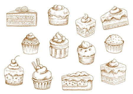 whipped cream: Sketches of scrumptious cupcakes and muffins in thin paper cups, berry pie and chocolate tiered cake, decorated by butter cream, whipped cream, fresh strawberries and cherries, chocolate drops and wafer tubes. Pastry and bakery shop objects