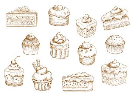 Skizzen von leckeren Cupcakes und Muffins in dünnen Papierschalen, Beerenkuchen und Schokolade gestaffelten Kuchen, dekoriert mit Butter, Sahne, frische Erdbeeren und Kirschen, Schokolade Tropfen und Wafer-Rohre. Konditorei und Bäckerei Objekte