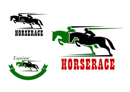 Horse race pictogrammen in groen en zwart kleuren voor de paardensport ontwerp. Twee racen paarden met jockeys, aangevuld met motion paden en lint banner