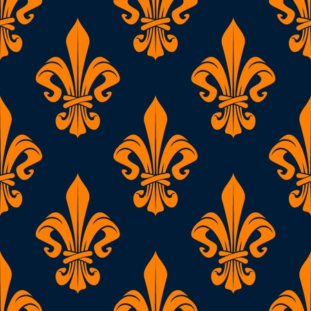 monarchy: Elegant french fleur-de-lis seamless pattern with orange foliage compositions of tied leaf scrolls on dark blue background. Heraldry and monarchy, history or interior themes