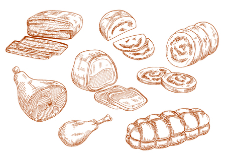 butcher shop: Tasty nutritious roasted beef tenderloin and dry cured ham, chicken leg and baked meatloaf, sausages and wurst. Sketches of meat products for restaurant menu, butcher shop or recipe book design Illustration