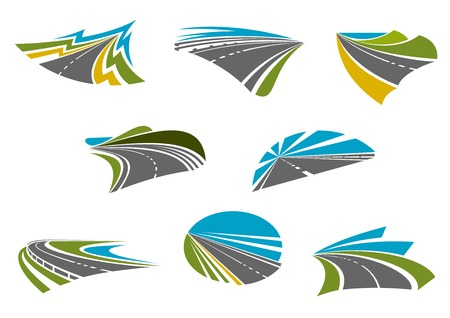 road trip: Roads isolated icons for car road trip, traveling and vacation design with coast, mountain and rural highways with colorful nature landscapes