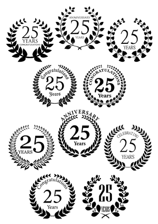 commemoration: Anniversary heraldic laurel wreaths black symbols with captions Congratulations and 25 years, Celebrating and Anniversary. Greeting card or jubilee invitation and heraldic design usage
