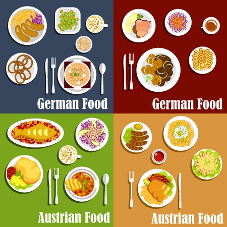 souffle: Traditional austrian and german cuisine with grilled sausages and fried potatoes, red cabbage salads, baked fish and meat, thick soups and spaetzle noodles, egg souffle, pretzels and walnut cakes