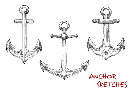 movable: Vintage marine admiralty anchors sketches with forged shanks and movable stocks with balls. Using in nautical tattoo, marine heraldic emblem or travel design Illustration