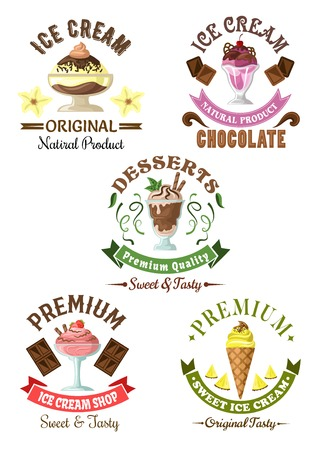 soft serve ice cream: Premium ice cream desserts emblems with enjoyable pineapple soft serve cone and chocolate, vanilla and cherry, strawberry sundae ice cream desserts, decorated by fresh fruits, mint leaves and colorful ribbon banners