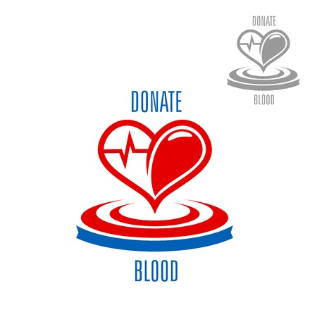 transfuse: Red heart with blood drop and heartbeat cardiogram line, supplemented by circles and caption Donate Blood. Healthcare and medicine, saving life and blood donation concept
