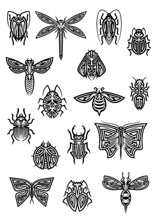 stag beetle: Flying and crawling insects in tribal style for tattoo or decoration design with ornamental butterfly and dragonfly, bee and wasp, hornet and ladybug, ant and bumblebee, cricket and firefly, stag beetle and bugs Illustration