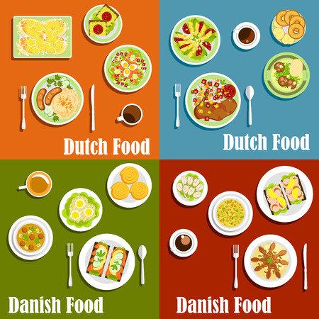 garnishing: Traditional dutch and danish open sandwiches on rye bread , served with seafood and cheese, meat and fish dishes garnishing with fresh vegetables, sauerkraut and egg salad, cinnamon rolls, pancakes and donuts